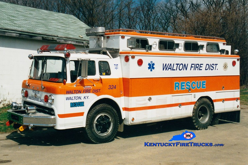 <center> RETIRED <br> Walton  Rescue 324 <br> x-Sharonville, OH <br> 1967 Ford C/Swab  <br> Greg Stapleton photo </center>