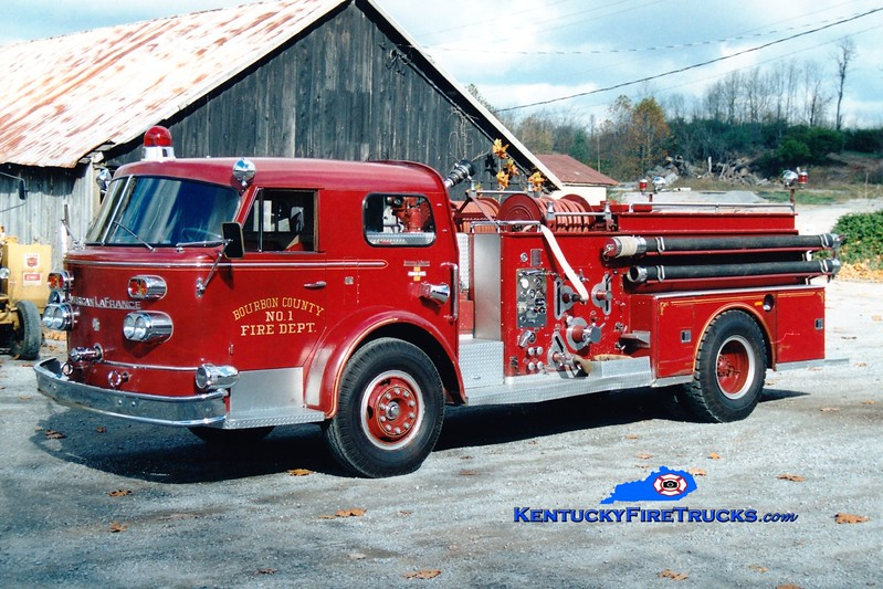 <center> RETIRED <br> Bourbon County  Engine 1 <br> 1965 American LaFrance 900 750/750 <br> Greg Stapleton photo </center>