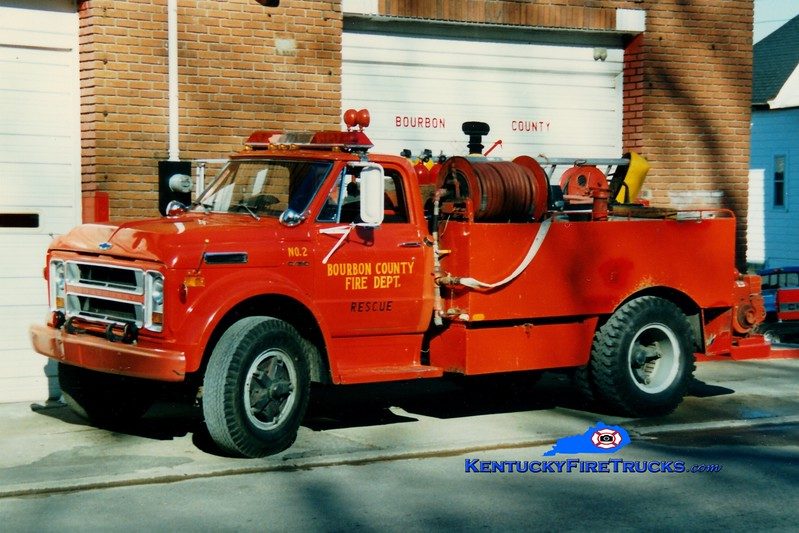 <center> RETIRED <br> Bourbon County  Engine 7 <br> 1972 Chevy/Local 250/1000 <br> Greg Stapleton photo </center>