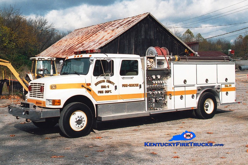 <center> RETIRED <BR> Bourbon County  Engine 9 <br> 1992 International 4900/E-One 1250/1000 <br> Greg Stapleton photo </center>