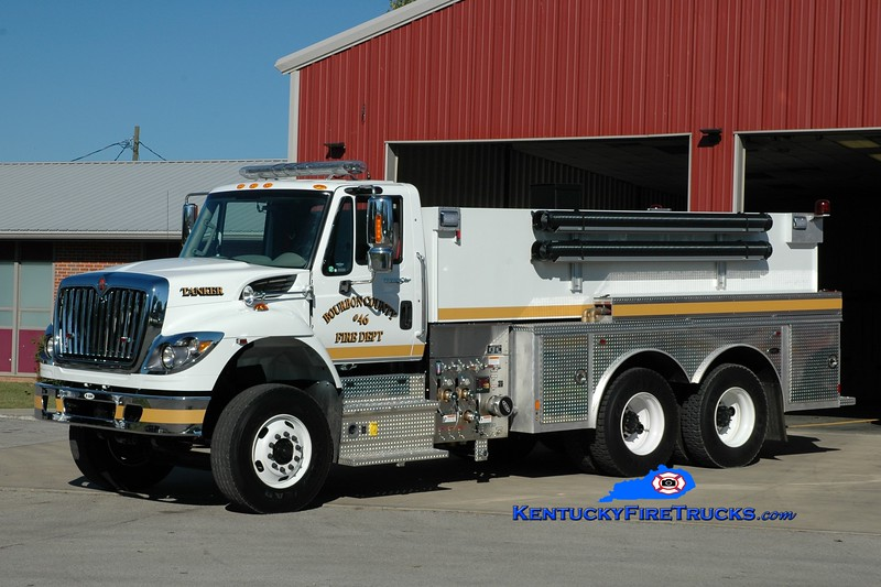<center> Bourbon County Tanker 46 <br> 2013 International 7400/E-One 500/3000 <br> Greg Stapleton photo </center>