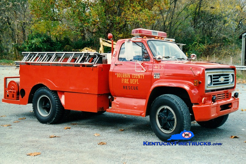<center> RETIRED <br> Bourbon County  Engine 8 <br> 1976 Chevy/Local 250/1000 <br> Greg Stapleton photo </center>