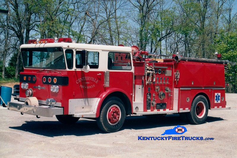 <center> RETIRED <br> Centerville  Engine 1201 <br> x-Elizabeth, WV; Stamping Ground, KY <br> 1977 American LaFrance Pioneer III 1000/1000 <br> Greg Stapleton photo </center>