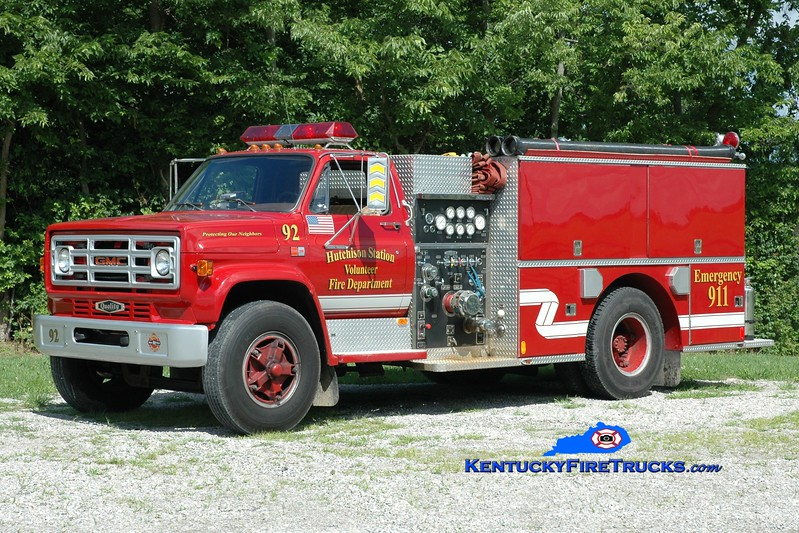 <center> Hutchison Station  Engine 92 <br> 1986 GMC 7000/Quality 1000/750 <br> Greg Stapleton photo </center>