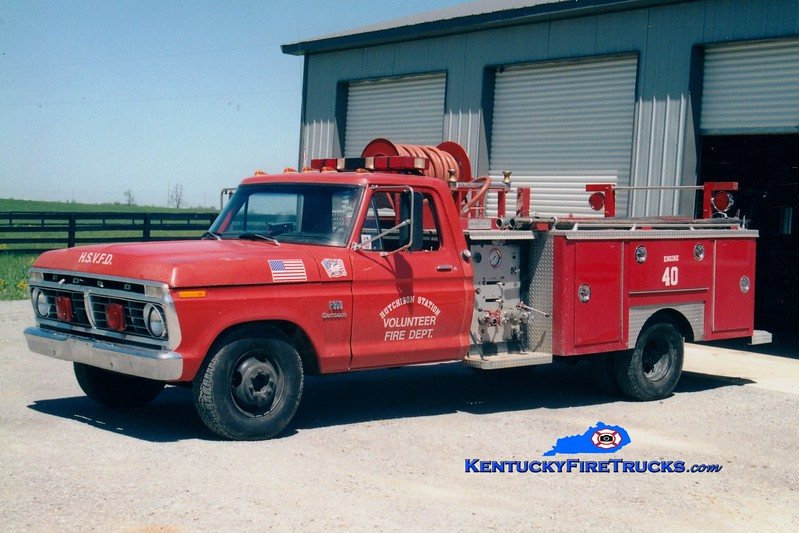 <center> RETIRED <br> Hutchison Station  Engine 40 <br> x-Franklin County, KY <br> 1975 Ford F-350/E-One 250/250 <br> Greg Stapleton photo </center>