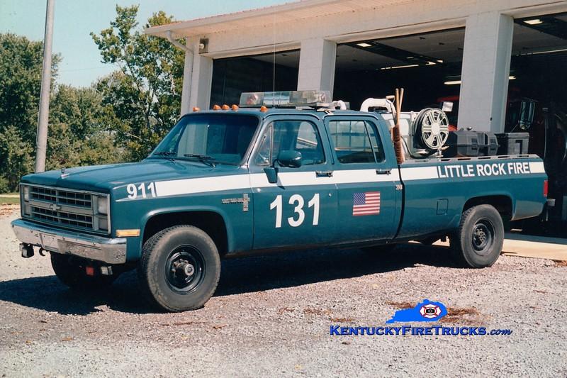 <center> RETIRED <br> Little Rock  Brush 131 <br> x-US Air Force <br> 1988 Chevy/FD 250/250 <br> Greg Stapleton photo </center>