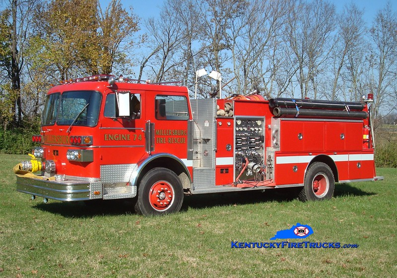 <center> Millersburg  Engine 74 <br> x-Lexington, KY  <br> 1981 Sutphen Deluge  1250/750 <br> Greg Stapleton photo </center>