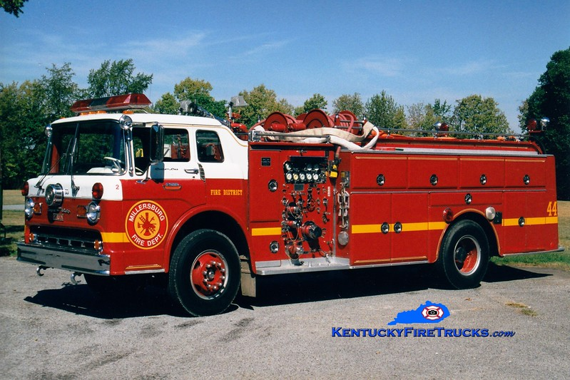 <center> RETIRED <BR> Millersburg  Engine 2 <br> x-Edgewood (Jefferson Co), KY <br> 1965 Ford C/Oren 1000/500/Quad  <br> Greg Stapleton photo </center>