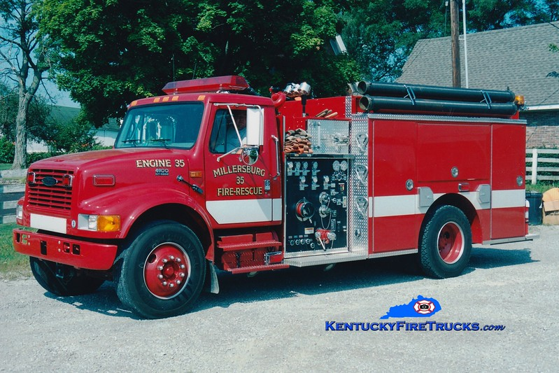 <center> RETIRED <BR> Millersburg  Engine 35 <br> 1999 International 4900/E-One 1250/1000 <br> Greg Stapleton photo </center>