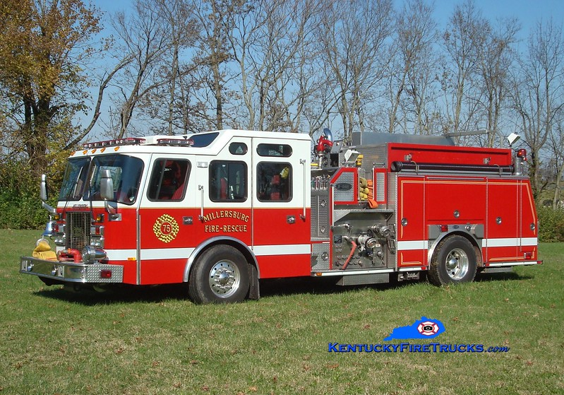 <center> Millersburg  Engine 75 <br> x-Ocean City, MD   <br> 1998 E-One Cyclone II 1500/500 <br> Greg Stapleton photo </center>