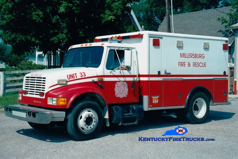 <center> RETIRED <BR> Millersburg  Rescue 33 <br> x-Lexington, KY <br> 1991 International 4700/Horton <br> Greg Stapleton photo </center>