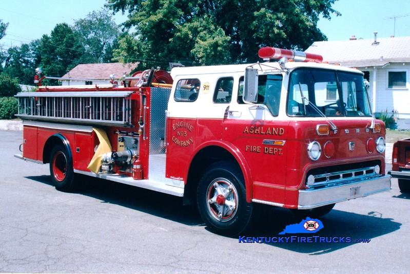 <center> RETIRED <br> Ashland  Engine 3 <br> 1974 Ford C-8000/Sutphen 1000/500  <br> Greg Stapleton photo <br> </center>