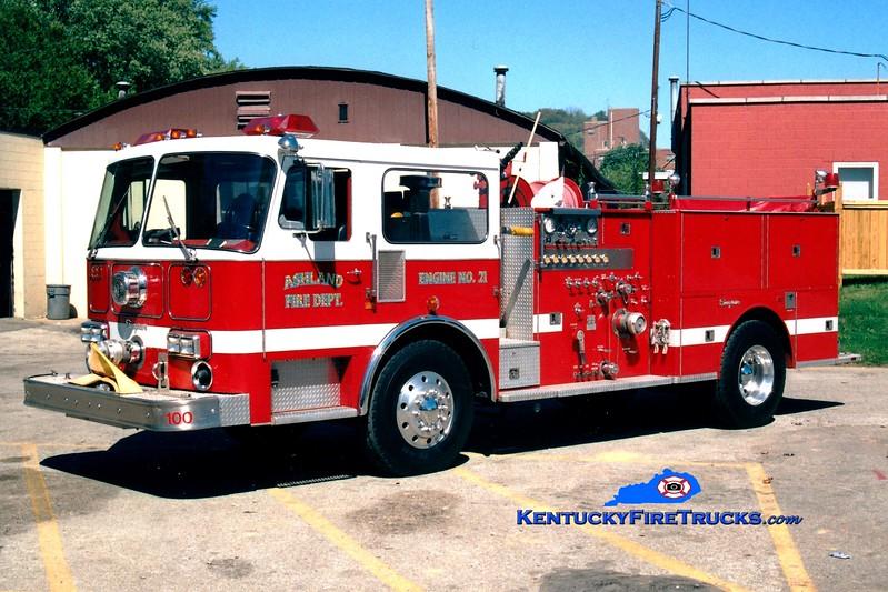<center> RETIRED <br> Ashland  Engine 21 <br> x-Cincinnati, OH <br> 1986 Seagrave HB 1250/300 <br> Greg Stapleton photo <br> </center>
