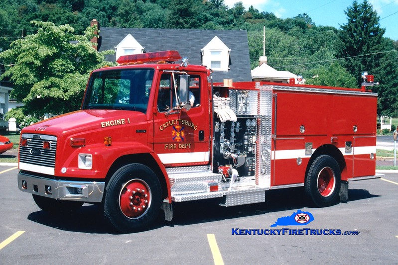 <center> Catlettsburg  Engine 1  <br> 1997 Freightliner FL80/Pierce 1250/500 <br> Greg Stapleton photo </center>