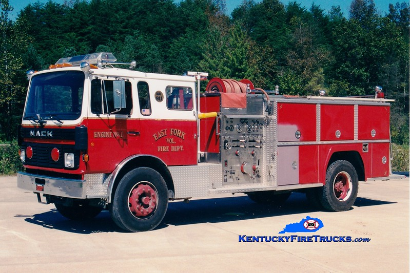 <center> RETIRED <br> East Fork  Engine 1 <br> 1986 Mack MS/American 750/1000 <br> Greg Stapleton photo </center>