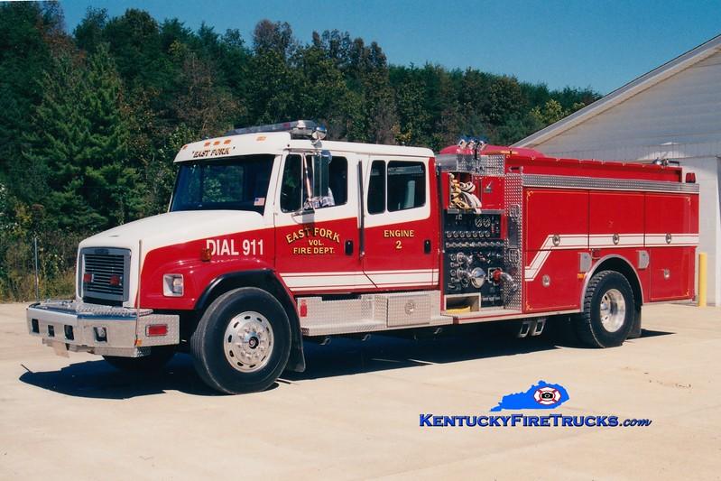 <center> East Fork  Engine 3 <br> x-Engine 2 <br> 1994 Freightliner FL80/Smeal 1500/1250 <br> Greg Stapleton photo </center>