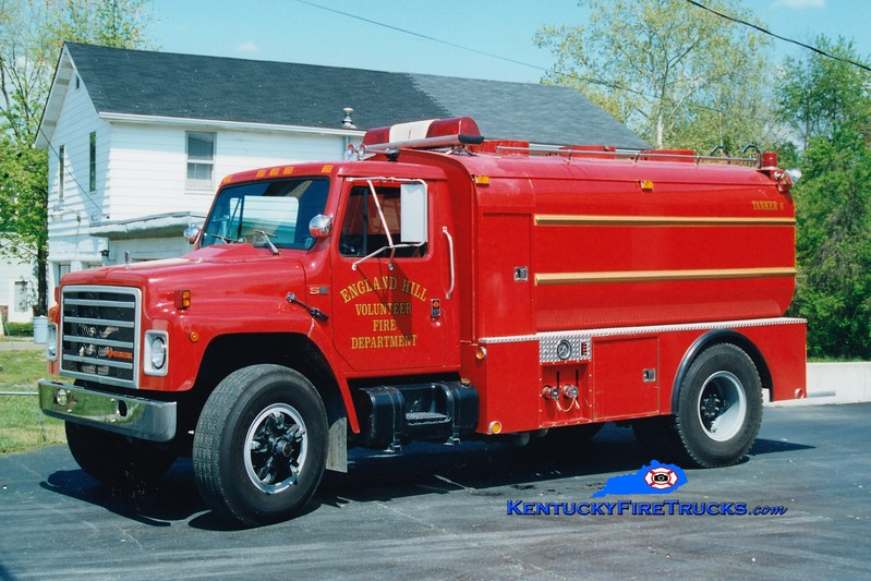 <center> RETIRED  <br> England Hill  Tanker 6 <br> 1988 International S/Ruth 450/1750 <br> Greg Stapleton photo <br> </center>