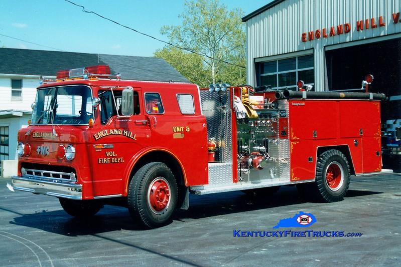 <center> RETIRED <br> England Hill  Engine 5 <br> 1984 Ford C/FMC 1000/1000 <br> Greg Stapleton photo <br> </center>