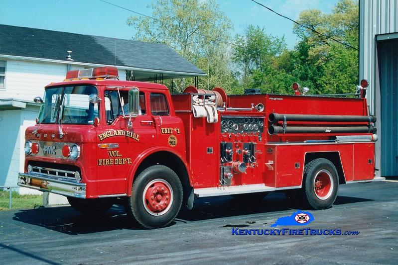 <center> RETIRED <br> England Hill  Engine 1 <br> 1982 Ford C/FMC 1000/1000 <br> Greg Stapleton photo <br> </center>