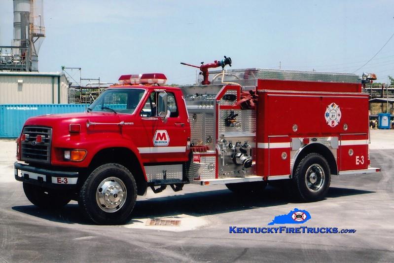 <center> Marathon Oil Catlettsburg Refinery  Engine 3 <br> 1998 Ford F-800/E-One 1250/1000/60  <br> Greg Stapleton <br> </center>