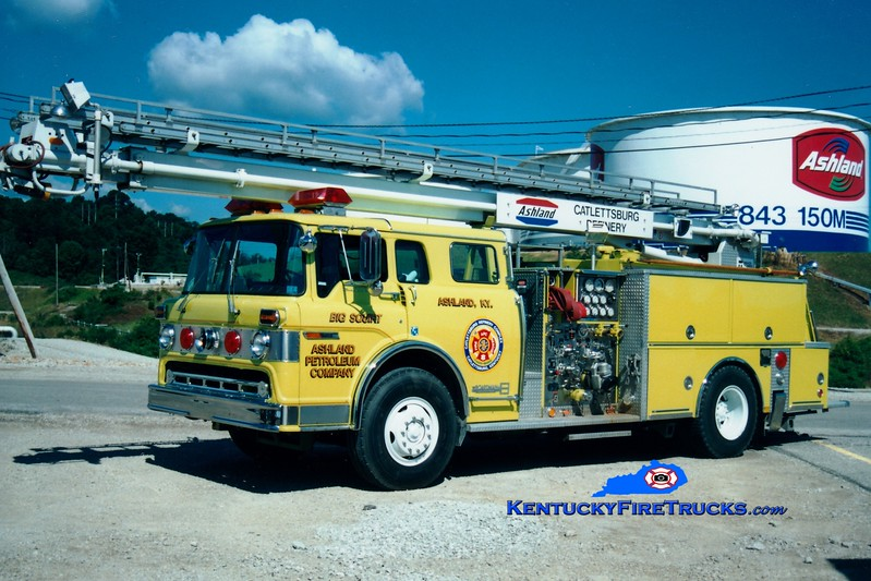 <center> RETIRED <br> Marathon Oil Catlettsburg Refinery  Engine 2 <br> 1983 Ford C-8000/Boardman 1250/500F/55' Readi-Tower <br> Greg Stapleton photo <br> </center>