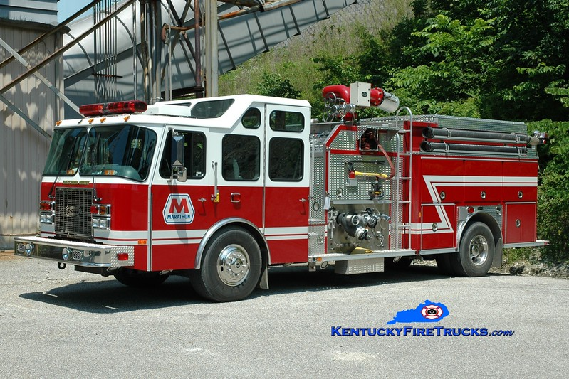 <center> Marathon Oil Catlettsburg Refinery  Engine 5 <br> 2001 E-One Cyclone II 3500/500/800F <br> Greg Stapleton photo <br> </center>