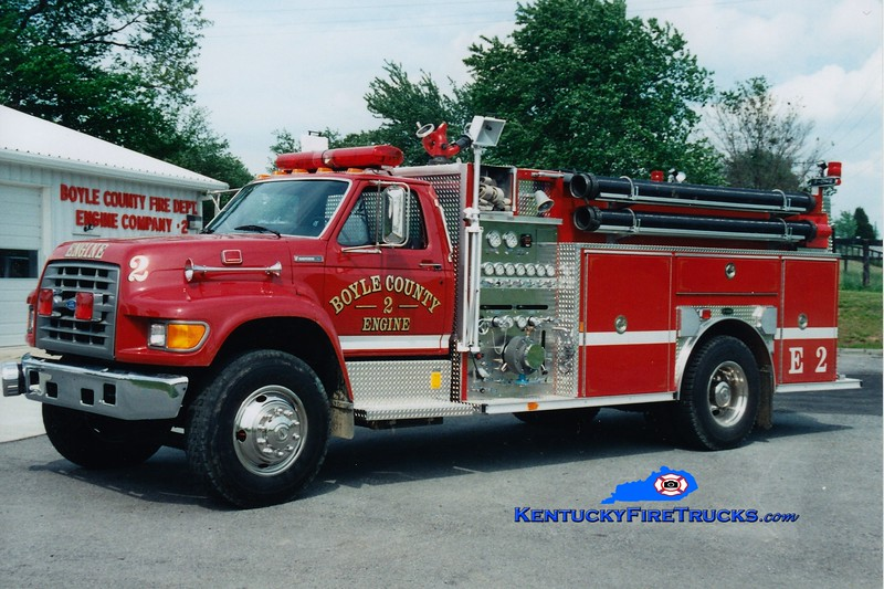 <center> Boyle County  Engine 2 <br> 1996 Ford F-750/E-One 1250/1000 <br> Greg Stapleton photo </center>