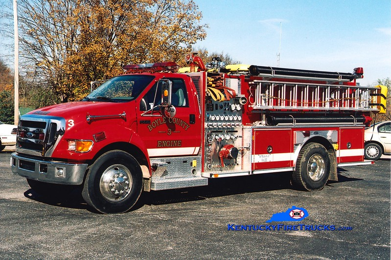 <center> Boyle County  Engine 3 <br> 2003 Ford F-750/E-One 1250/1000 <br> Greg Stapleton photo </center>