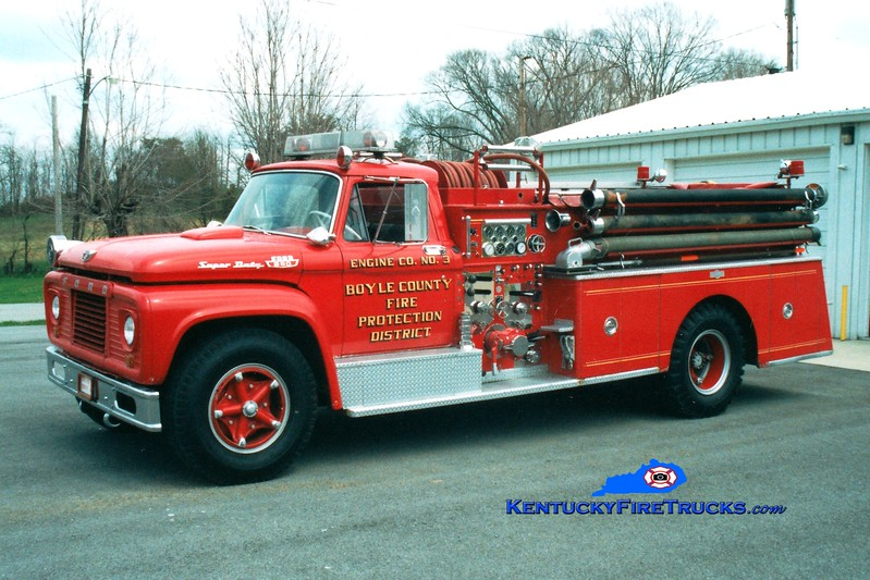 <center> RETIRED <br> Boyle County  Engine 3 <br> 1963 Ford F-850/Pirsch 750/500 <br> Greg Stapleton photo </center>
