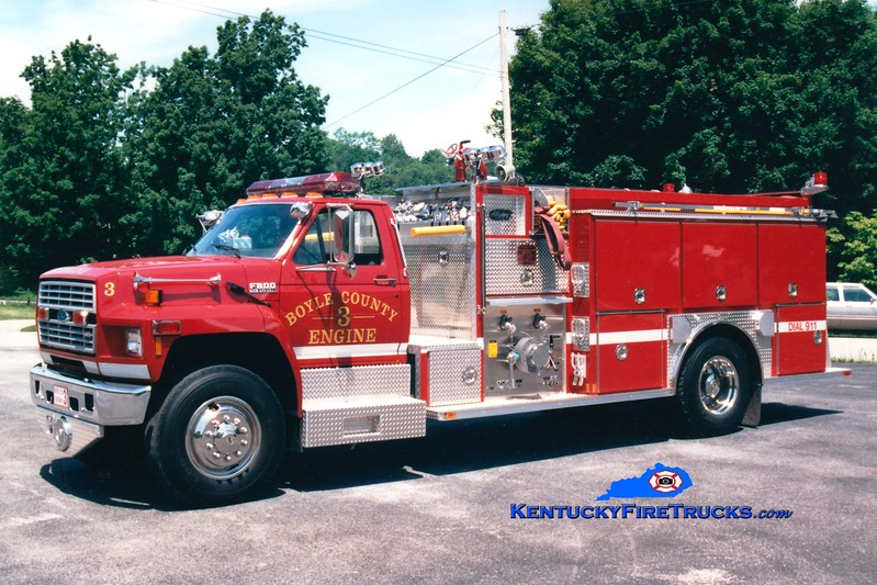 <center> RETIRED <br> Boyle County  Engine 3 <br> 1994 Ford F-800/Allegheny 1250/1000 <br> Greg Stapleton photo </center>