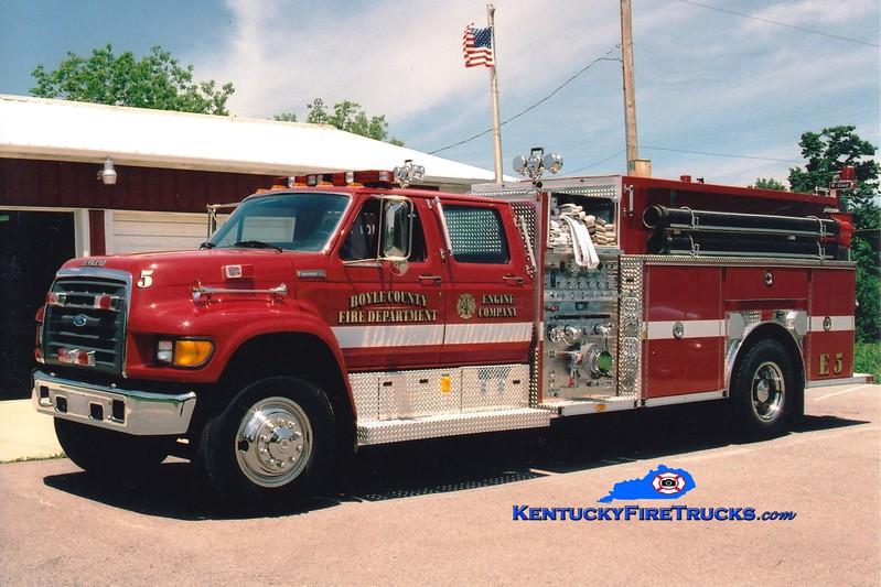 <center> Boyle County  Engine 5 <br> 1997 Ford F-750/E-One 1250/1000 <br> Greg Stapleton photo </center>