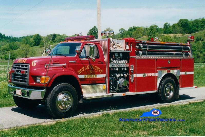 <center> Boyle County  Engine 6 <br> 1995 Ford F-750/E-One 1250/1000 <br> Greg Stapleton photo </center>