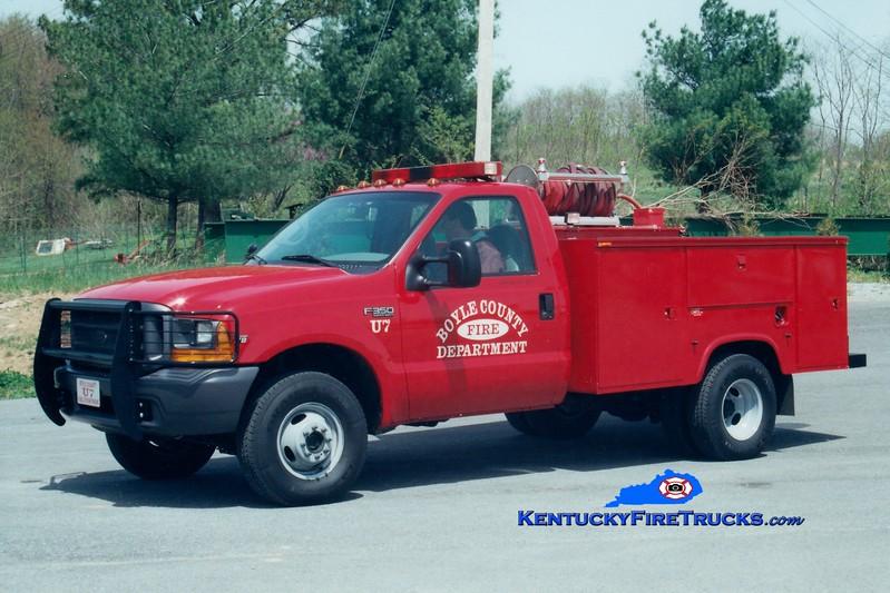 <center> Boyle County  Utility/Brush 7<br> 2000 Ford F-350 4x4/Mertz 250/250 <br> Greg Stapleton photo </center>