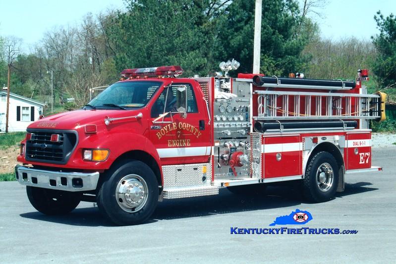 <center> Boyle County  Engine 7 <br> 2001 Ford F-750/E-One 1250/1000 <br> Greg Stapleton photo </center>