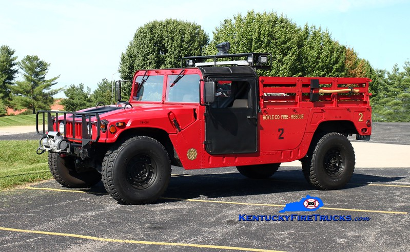 <center> Boyle County  Rescue 2 <br> 1995 AM General Humvee 4x4  <br> Kent Parrish photo </center>