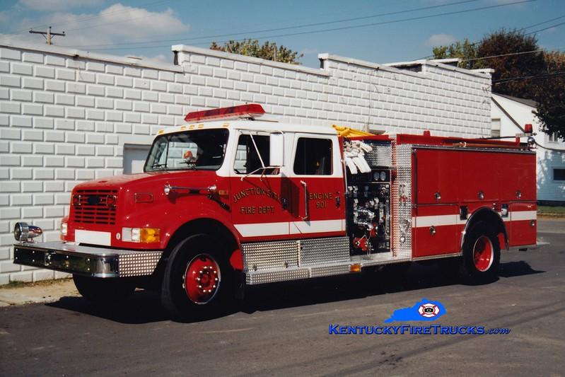 <center> Junction City  Engine 901  <br> 1997 International 4900/Pierce 1250/1000 <br> Greg Stapleton photo </center>