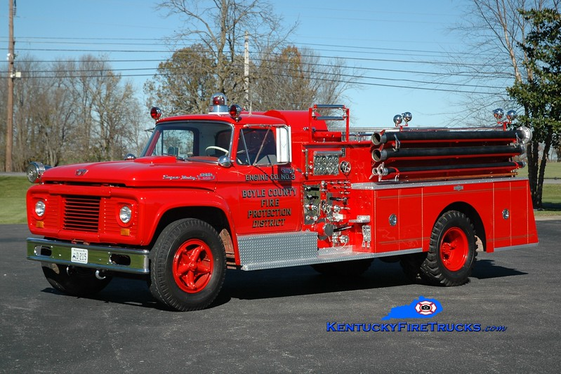 This rig formerly served Engine 3 of the Boyle County Fire Protection District at the Parksville Station.  It is now privately owned by a former member of the department and friend of KentuckyFireTrucks.  <br /> <br /> 1963 Ford F-850/Pirsch 750/500<br /> Greg Stapleton photo