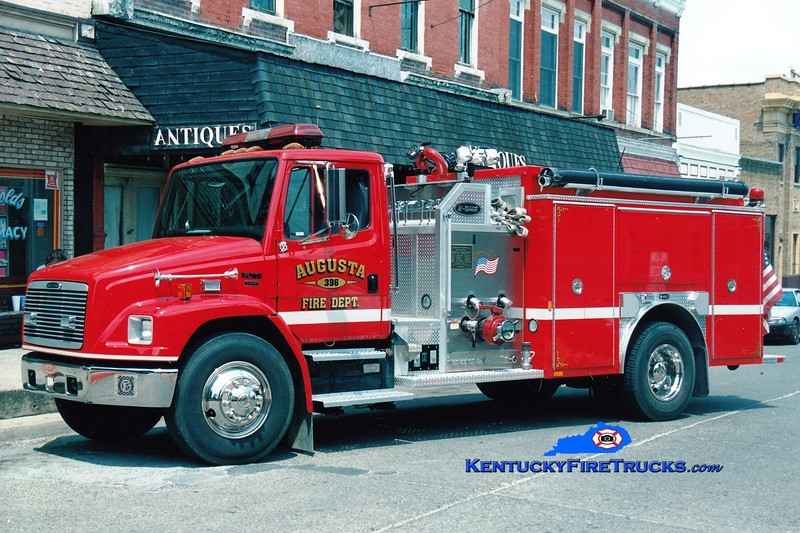 <center> Augusta  Engine 396  <br> 2002 Freightliner FL70/E-One  1250/1000 <br> Greg Stapleton photo </center>