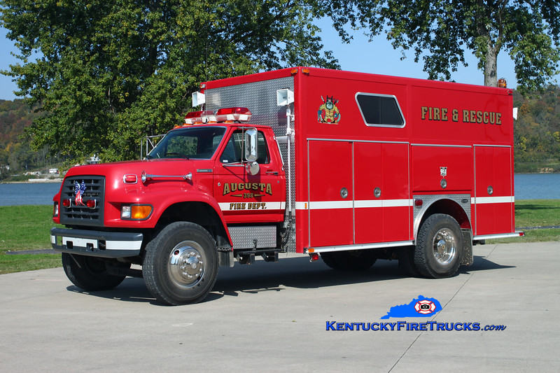 <center> RETIRED <br> Augusta  Rescue 398  <br> 1996 Ford F-800/E-One  <br> Kent Parrish photo <br> </center>