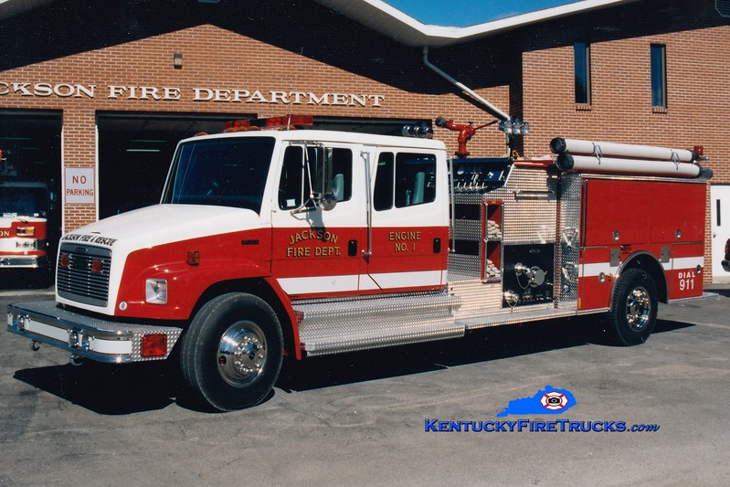 <center> RETIRED <br> Jackson  Engine 1 <br> 1997 Freightliner FL80/Pierce 1250/1000 <br> Greg Stapleton photo <br> </center>