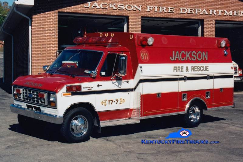 <center> Jackson  Rescue 7 <br> 1985 Ford E-350/Stahl/Braun <br> x-Essington, PA <br> Greg Stapleton photo <br> </center>