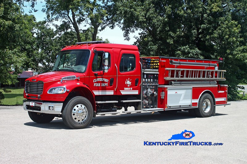 <center> Cloverport  Area Tanker 19 <br> 2010 Freightliner M2-106/Midwest Fire 1000/2000  <br> Kent Parrish photo </center>