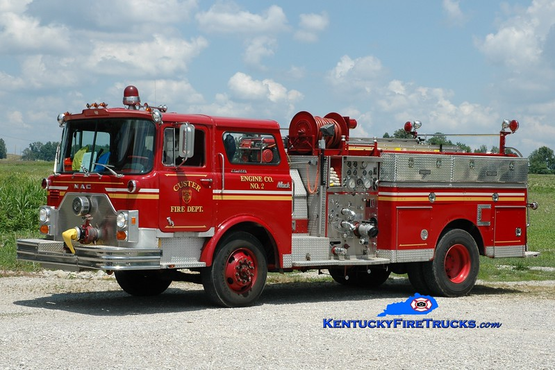 <center> Custer Area  Engine 3 <br> x-Louisville, KY <br> 1976 Mack CF 1250/500 <br> Greg Stapleton photo </center>