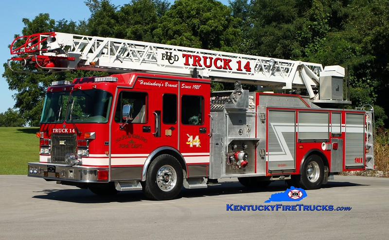 <center> Hardinsburg  Truck 14 <br> x-Kamloops, BC <br> 1997 Spartan Gladiator/Anderson/Smeal 1500/500/30/75'  <br> Kent Parrish photo </center>