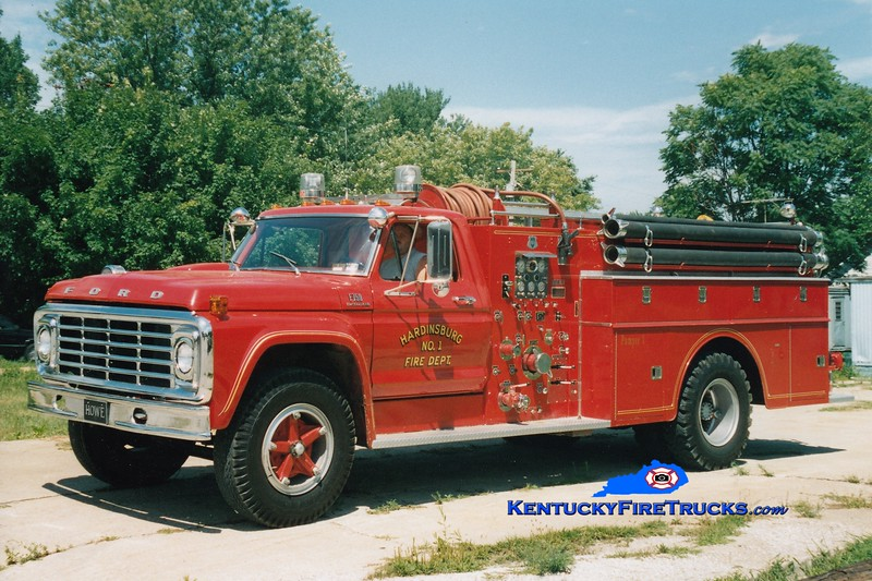 <center> RETIRED <br> Hardinsburg  Engine 1 <br> 1974 Ford F-750/Howe 750/750   <br> Greg Stapleton photo </center>