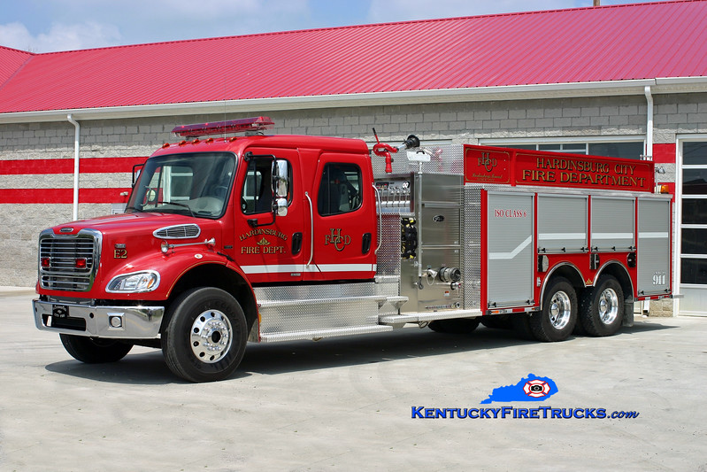 <center> Hardinsburg  Engine 1 <br> x-Engine 2 <br> 2007 Freightliner M2-112/Toyne 1500/2600 <br> Kent Parrish photo </center>