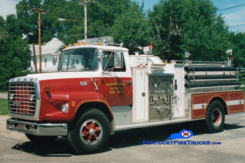 <center> RETIRED <br> Hardinsburg  Pumper 2 <br> 1978 Ford L/Bean-FMC 1000/1000   <br> Greg Stapleton photo </center>