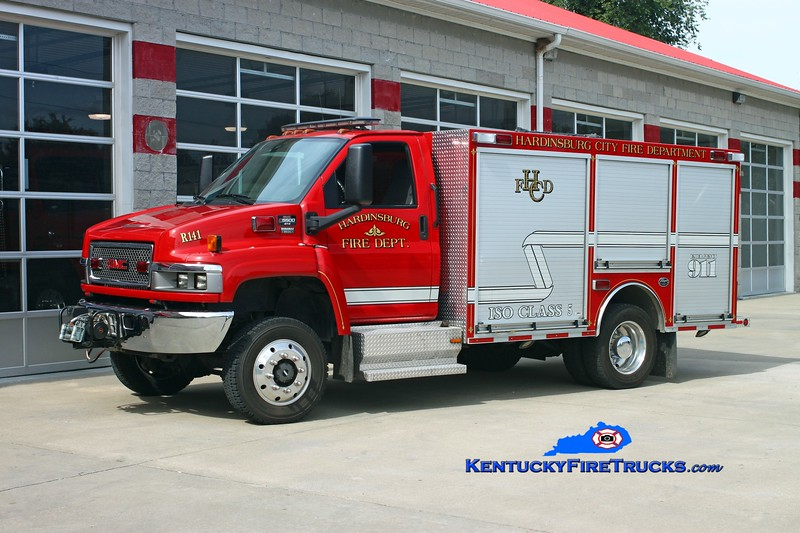 <center> Hardinsburg  Rescue 141 <br> 2007 GMC C8500/2010 Wynn  CAFS <br> Kent Parrish photo </center>