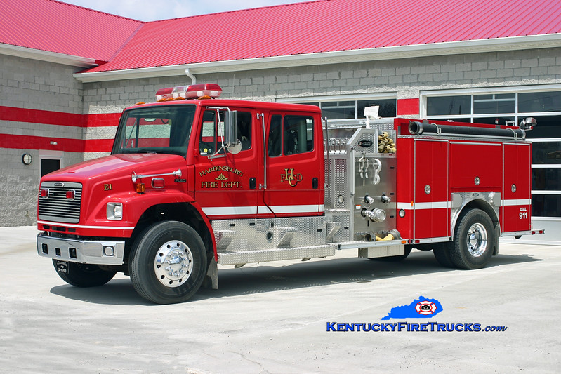 <center> Hardinsburg  Engine 3 <br> x-Engine 1 <br> 2000 Freightliner FL80/E-One 1250/1000 <br> Kent Parrish photo </center>