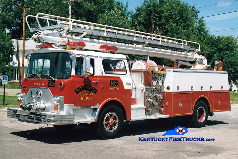 <center> RETIRED <br> Hardinsburg  Squrt 6 <br> x-Worthington (Jefferson County), KY <br> 1978 Mack CF 1250/500/50' Telesqurt   <br> Greg Stapleton photo </center>